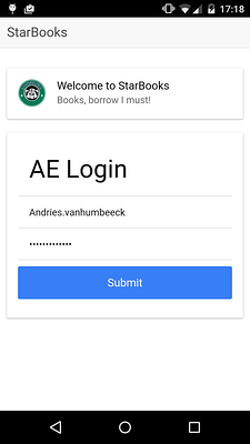 StarBooks login screen