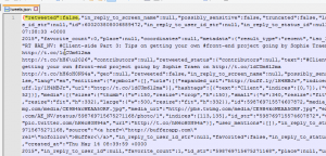 Snippet of a JSON file of a Tweet