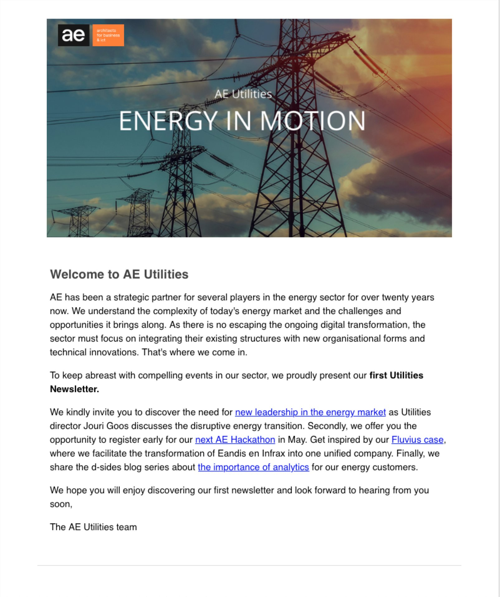 AE Utilities   Our very First Newsletter