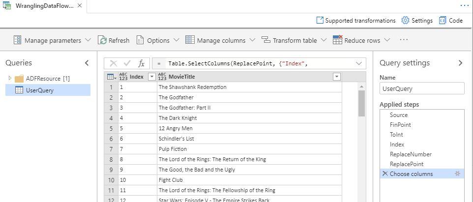 Wrangling dataflow