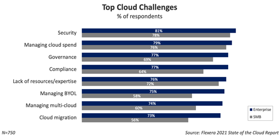 Graph showing the most import cloud challenges